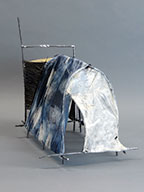 "Shelter III | 18"" x 14"" x 18"" Forged and fabricated steel, wire, paper, hand-dyed fabric 